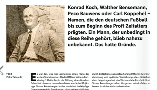 Ausschnitt aus der Beitragstitelseite des Artikels über Simon Rosenberger in der DFB-SR-Zeitung 6/2019.